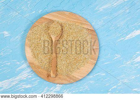 Quinoa. Gluten Free Healthy Food. Diet, Dieting Concept. Seeds Of White Quinoa Chenopodium Quinoa