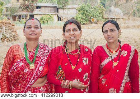Nepali Village Women Posing For Photograph On Traditional Nepali Attire , Blauz And Sari. Nepali Wom