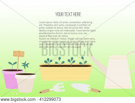 Vector Banner With Garden Tools (watering Can, Flower Pot, Plants) And Place For Text On Green Backg