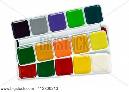 File Contains Clipping Path. Packaged Watercolor Paints For Painting In A Box. Art And Creativity Co
