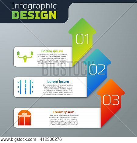 Set Aircraft Steering Helm, Airport Runway And Aircraft Hangar. Business Infographic Template. Vecto