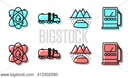 Set Line Oilfield, Atom, Tanker Truck And Petrol Or Gas Station Icon. Vector