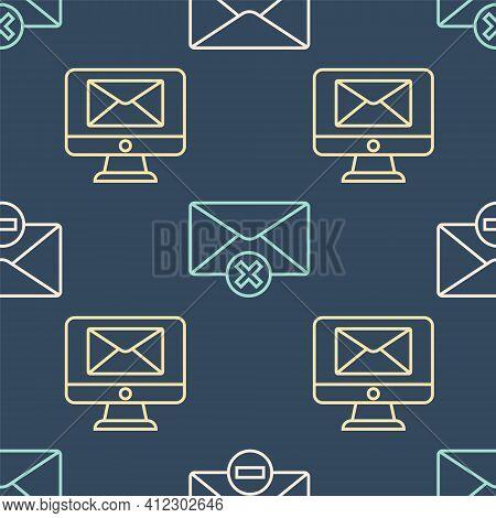 Set Line Delete Envelope, Monitor And Envelope And Delete Envelope On Seamless Pattern. Vector