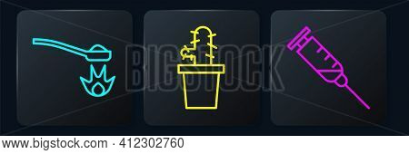 Set Line Heroin In A Spoon, Syringe And Cactus Peyote In Pot. Black Square Button. Vector