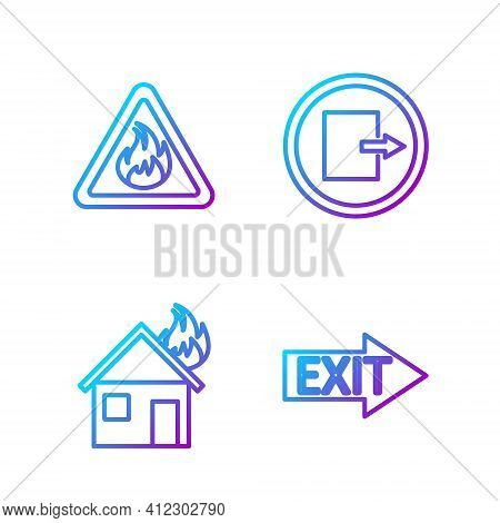 Set Line Fire Exit, Fire In Burning House, Fire Flame In Triangle And Fire Exit. Gradient Color Icon