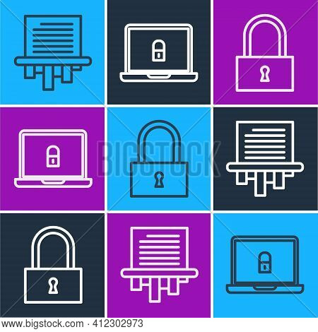 Set Line Paper Shredder, Lock And Laptop And Lock Icon. Vector