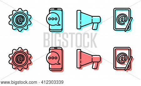 Set Line Megaphone, Mail And E-mail, Chat Messages Notification On Phone And Mail And E-mail Icon. V