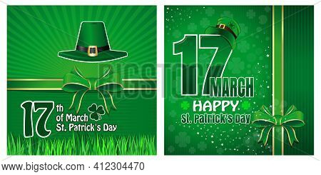 Greeting Cards Set For St. Patricks Day. March 17. Happy St. Patricks Day. Vector Illustration