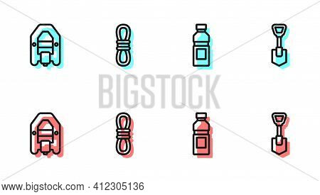 Set Line Bottle Of Water, Rafting Boat, Climber Rope And Shovel Icon. Vector