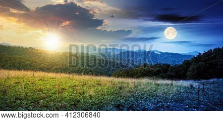 Day And Night Time Change Concept Above Summer Mountain Landscape. Beautiful Scenery With Sun And Mo