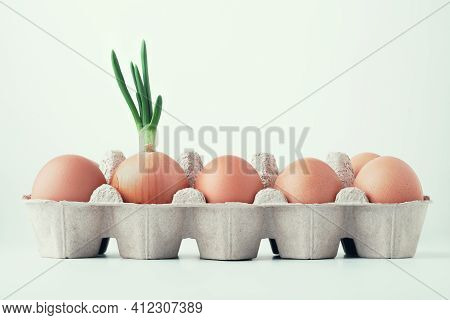 Chicken Eggs And Green Onions. Green Onions In A Steady Series Of Brown Raw Eggs In A Box For Eggs O