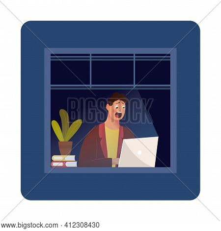 Funny Cartoon Character. Hipster Sitting In The Room And Working With Laptop. Vector. Night Owl Pers