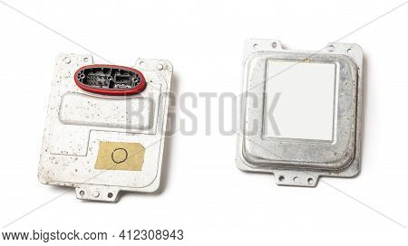 Spare Part Plastic Car Engine Control Unit With Metal Elements On A White Isolated Background Is The