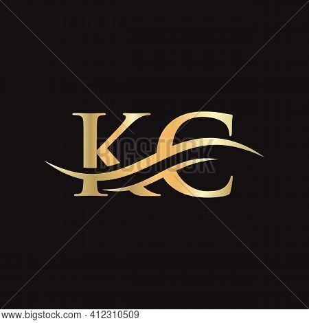 Kc Logo Design. Premium Letter Kc Logo Design With Water Wave Concept.