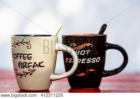 Cup Of Fresh Made Coffee On Wooden Background