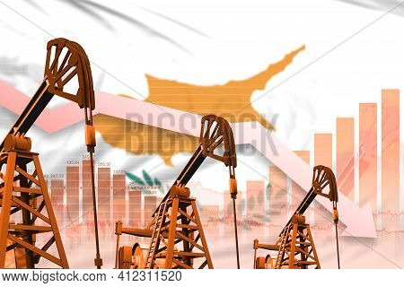 Cyprus Oil Industry Concept, Industrial Illustration - Lowering Down Chart On Cyprus Flag Background