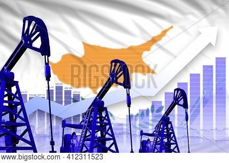 Cyprus Oil Industry Concept, Industrial Illustration - Rising Up Chart On Cyprus Flag Background. 3d