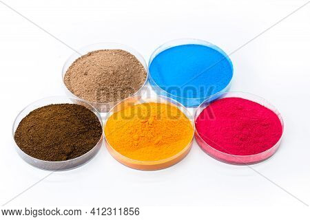 Colored Pigments, Iron Oxides Used As A Dye, In Orange, Blue And Pink