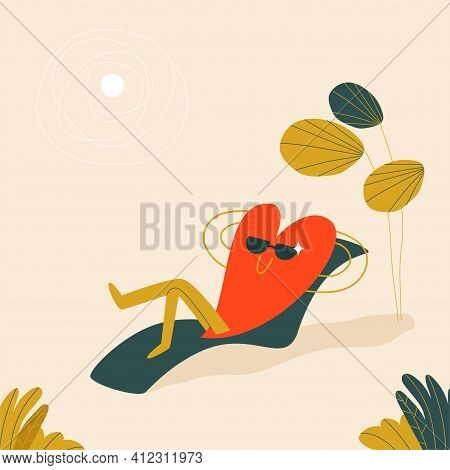 A Red Heart In Sunglasses Lies On A Sun Lounger Under A Palm Tree And A White Sun. A Cute Character