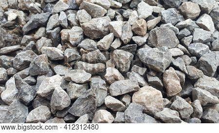 Gravel Outdoor  Road. Closeup Gravel Texture. Stone Pattern. Small Rocks Ground