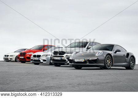 Kiev, Ukraine - October 14, 2016: Super Combo Supercars. Porsche 911 Turbo S & 2x Bmw X6 M & Bmw M3