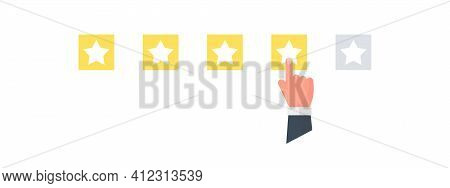Rating Scale. Stars Rating. Customers Satisfaction. Choice Rating Review. Vector Illustration