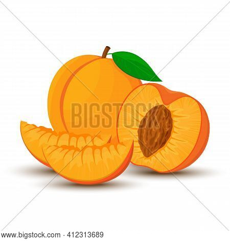 An Image Of A Peach From Different Directions. Vector Illustration In A Flat Style. Whole, Half And