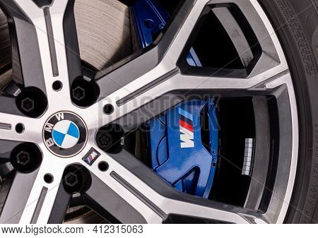 Prague, Czech Republic - January 19, 2021: Wheel Of Bmw Car In Prague, Czech Republic, January 19, 2