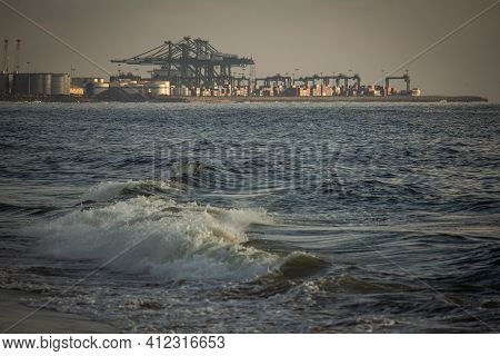 Scenic View Of The Waves Of The Bay Of Bengal Along Marina Beach With Port In Background, Chennai, I