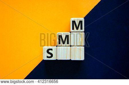 Smm, Social Media Marketing Symbol. Wooden Cubes With Word 'smm, Social Media Marketing' On Beautifu