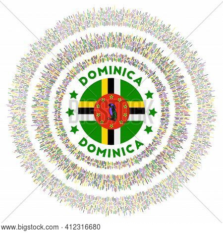 Dominica Symbol. Radiant Country Flag With Colorful Rays. Shiny Sunburst With Dominica Flag. Modern