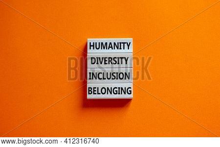 Humanity, Diversity, Inclusion, Belonging Symbol. Wooden Blocks With Words Humanity, Diversity, Incl