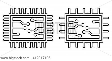 Two Chip Or Microchip Icons. Editable Stroke. Central Computer Processor, Black Chip Symbol. Flat St