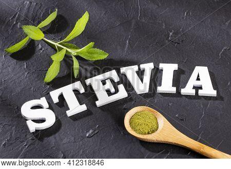 Stevia Rebaudiana Zero Calorie Natural Sweetener - Text Space