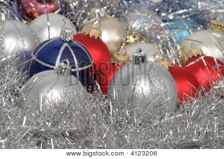 Christmas balls on silver background – stock photo poster