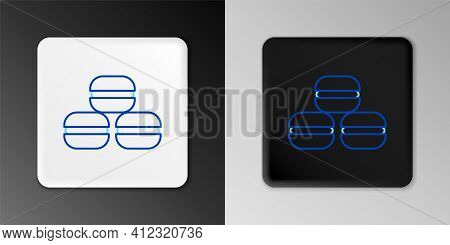Line Macaron Cookie Icon Isolated On Grey Background. Macaroon Sweet Bakery. Colorful Outline Concep