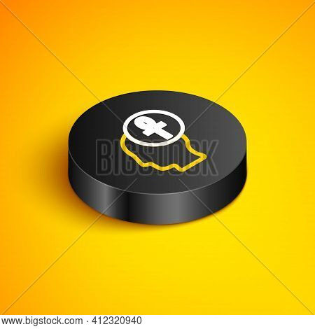 Isometric Line Cross Ankh Icon Isolated On Yellow Background. Black Circle Button. Vector