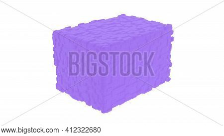 Violet Cube On White Background With Displacement Rectangular Blocks Texture, 3d Rendering
