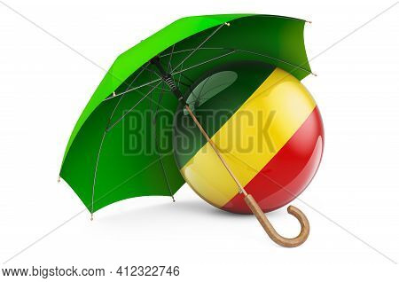Congo Flag Under Umbrella. Protection And Security Of Congo Concept, 3d Rendering Isolated On White