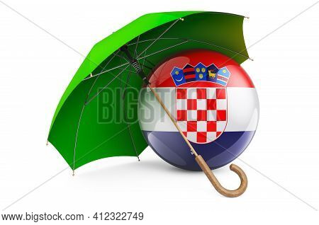 Croatian Flag Under Umbrella. Protection And Security Of Croatia Concept, 3d Rendering Isolated On W
