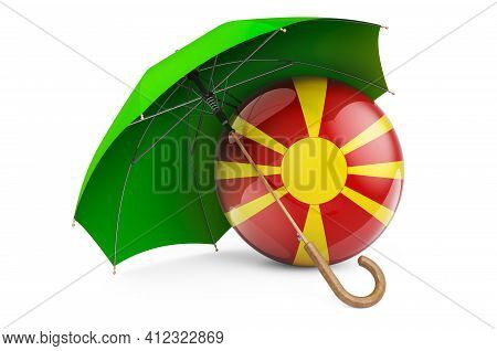 Macedonian Flag Under Umbrella. Protection And Security Of Macedonia Concept, 3d Rendering Isolated