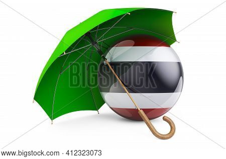 Thai Flag Under Umbrella. Protection And Security Of Thailand Concept, 3d Rendering Isolated On Whit