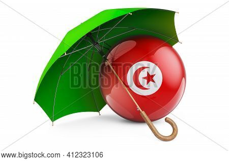 Tunisian Flag Under Umbrella. Protection And Security Of Tunisia Concept, 3d Rendering Isolated On W
