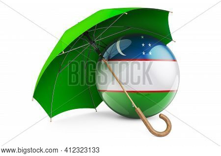 Uzbek Flag Under Umbrella. Protection And Security Of Uzbekistan Concept, 3d Rendering Isolated On W