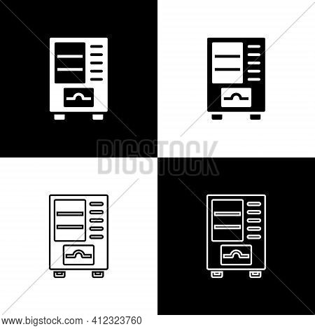 Set Vending Machine Of Food And Beverage Automatic Selling Icon Isolated On Black And White Backgrou