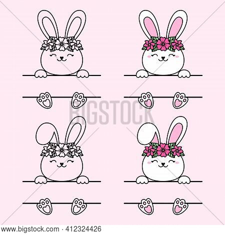 Easter Bunny Split Monogram With Flower Wreath. Hare With A Bent Ear. Vector Cute Character For Gree