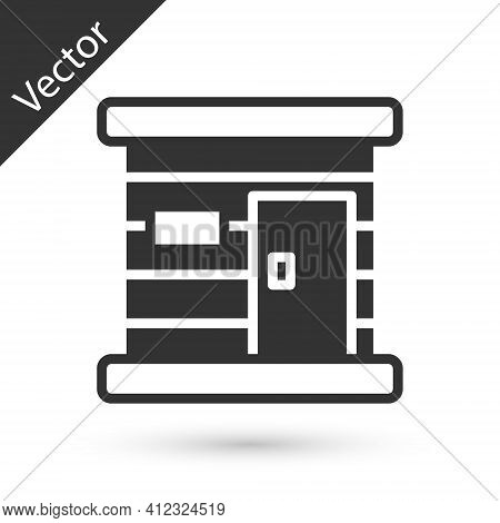 Grey Sauna Wooden Bathhouse Icon Isolated On White Background. Heat Spa Relaxation Therapy Bath And