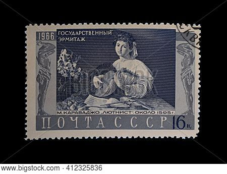Bakhmut, Ukraine, March, 2021. Postage Stamp Of The Ussr With The Image Of Caravaggio's Painting