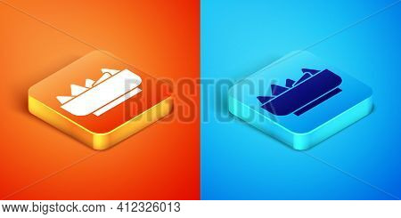 Isometric Nachos In Bowl Icon Isolated On Orange And Blue Background. Tortilla Chips Or Nachos Torti