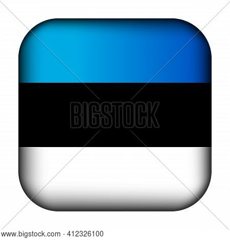 Glass Light Ball With Flag Of Estonia. Squared Template Icon. Estonian National Symbol. Glossy Reali